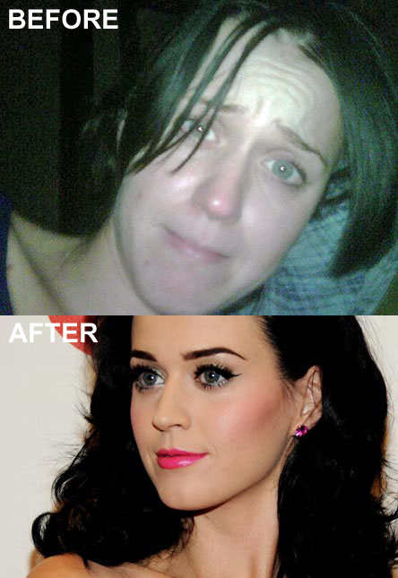 Katy Perry no makeup before and after