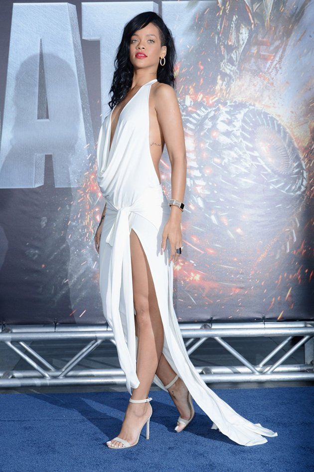 Rihanna white-hot slit dress