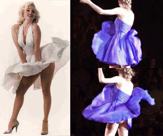 Marilyn Monroe and Taylor Swift wardrobe malfunction