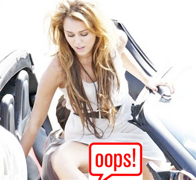 Miley Cyrus getting out of car